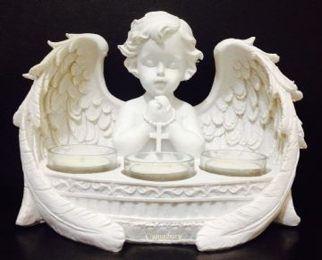 X-LARGE Cherub Angel PRAYING CROSS with 3 Tea Light Holders